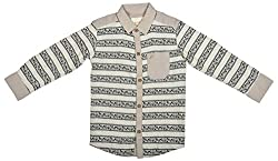 Zedd Boys' Cotton Shirt (E-C Zks1067B_20, Beige and Black, 20)