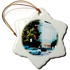 3dRose orn_61287_1 Cars and Trucks on The Las Vegas Strip on a Busy Day Passing by Tiffany and Co Snowflake Porcelain Ornament, 3-Inch