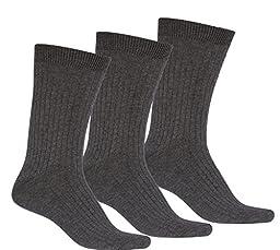 Sakkas 5699Asst Mens Cotton Blend Ribbed Dress Socks Value Pack - Grey 3 - Pack , 10 -13