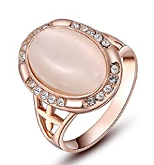 buy Womens Oval Shape Cut Opal Engagement Wedding Cocktail Rose Gold Ring Pave Crystal Band Size 7