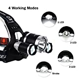 InnoGear® 5000 Lumen Bright Headlight Headlamp Flashlight Torch 3 CREE XM-L2 T6 LED with Rechargeable Batteries and Wall Charger for Hiking Camping Riding Fishing Hunting
