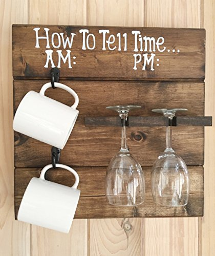 How To Tell Time Rustic Wooden Coffee Mug and Wine Glass Rack by Mountain Creek Woodworks (Wooden Coffee Mug Holder compare prices)