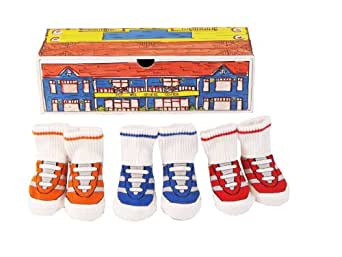 Dimples Pee Wee Sports Center Three Pairs Gym Shoe Socks, 0-12 Months
