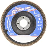 "Weiler 51104 Tiger Paw High Performance Abrasive Flap Disc, Type 29 Angled Style, Phenolic Backing, Zirconia Alumina, 4"" Diameter, 5/8"" Arbor, 40 Grit, 15000 RPM"