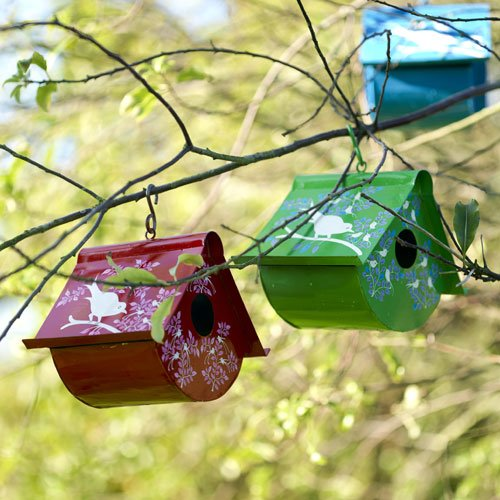 Hand-painted fair trade bird house - green