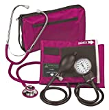 Veridian 02-12708 Aneroid Sphygmomanometer with Dual-head Stethoscope Kit, Adult, Magenta