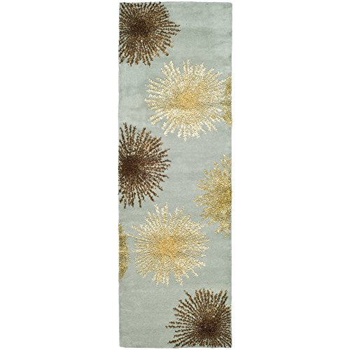 Safavieh Soho Collection SOH712C Handmade Light Blue and Multicolored New Zealand Wool Area Runner, 2 feet 6 inches by 6 feet (2