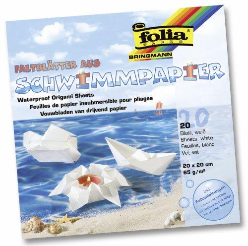 Folia 43200 - Schwimmpapier 65G 20 x 20 cm 20 Blatt weiß