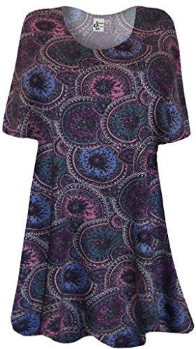 """Sanctuarie Designs 4X Womens Maroon Blue Purple Paisley Circles Print Plus Size Supersize Extra Long T-Shirt /4X /36""""Long/./"""