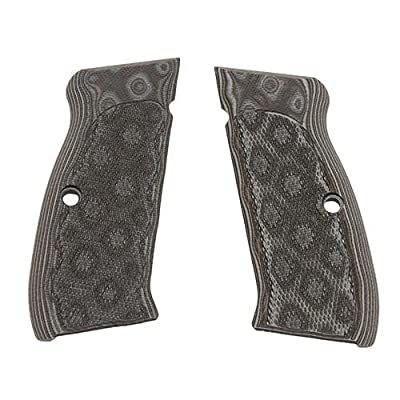 Hogue CZ-75/CZ-85 Grips (Checkered G-10 G-Mascus), Black/Grey