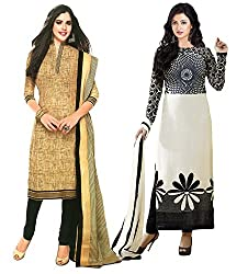 Clickedia Women's American Crepe Combo Set of 2 Salwar Suit Dupatta - Dress Material