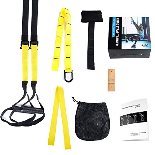 PRO Suspension Trainer, LIHAO Allenamento in Sospensione Kit Strap Workout per Fitness, Unisex adulto, Nero/Giallo