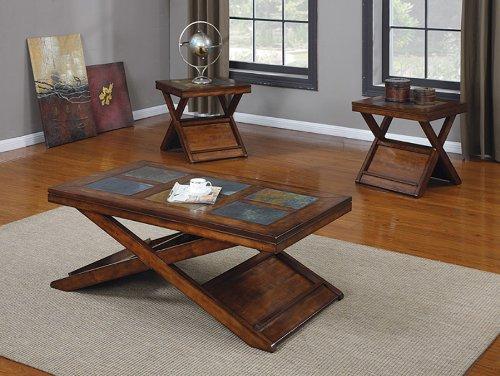 Acme 80166 3-Piece Benicia Coffee/End Table Set, Dark Oak and Slate Finish (Slate Coffee compare prices)