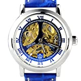 ORKINA MG039 Mechanical Skeleton Stainless Steel Leather Wrist Men Quartz Watch BLUE