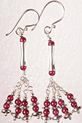 Exotic India Four Strand Garnet Showers - Sterling Silver