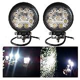VINGO® 2X 27W Arbeitsscheinwerfer LED 12v Rund Arbeitslicht Auto Scheinwerfer Lampe 6500K Weiß Für Trecker Offroad KFZ Bagger SUV in