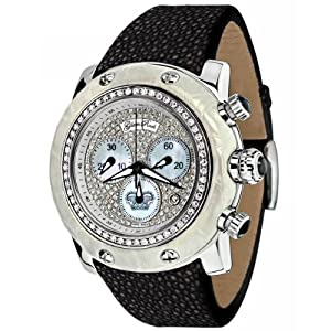 Glam Rock Women's GR80105 Special Edition Collection Chronograph Diamond Black Leather Watch