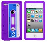 Angelina(TM) Retro Cassette Tape Design Soft Rubber Silicone Phone Case Protector for iPhone 4 4S Purple Color