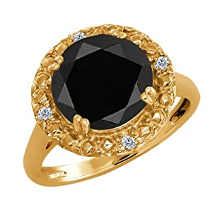 3.04 Ct Round Black Onyx and White Diamond 18k Yellow Gold Ring