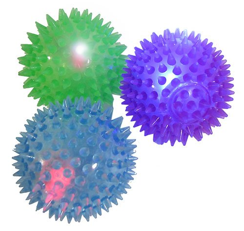 Spikey Flashing Light up Bouncy Ball -- Pack of (3) in Assorted Colors