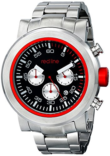 Red Line Men's Torque Sport 50mm Chronograph Steel Bracelet & Case Quartz Black Dial Watch 50050-11-RDS