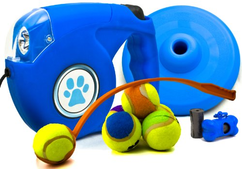 Ultimate Park Toy Value Pack Featuring a Retractable Dog Leash with Light, Play Fetch with Ball Thrower Launcher, Includes 6 Tennis Balls and a Frisbee! Plus Puppy Waste Bag Dispenser Accessories with