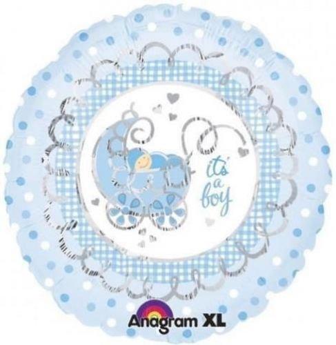 Its A Boy Pram New Baby Boy 18 Inch Foil Balloon front-910844