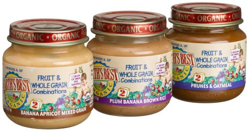Earth's Best Organic Fruit & Whole Grain Comnbo, Variety Pack, 4-Ounce Jars (Pack of 12)
