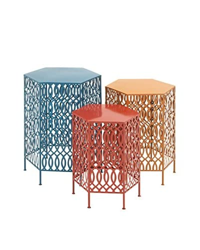 Set of 3 Hexagonal Metal Tables