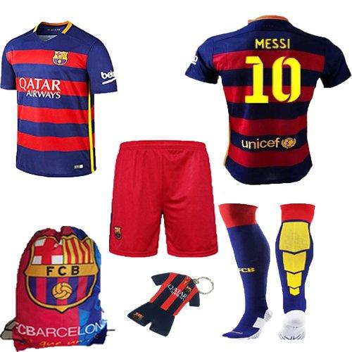 ... Barcelona Kids Jersey 20152016 FC 10 Messi home football soccer polo  shirt shorts socks .. 2015-2016 ... 42fbad6d4