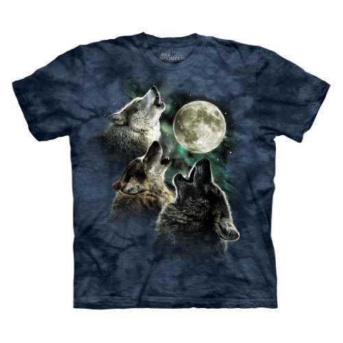 The Mountain Three Wolf Moon Short Sleeve Tee, Blue Danger, M