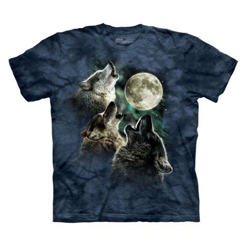 The Mountain Three Wolf Moon Short Sleeve Tee, Blue Danger, M