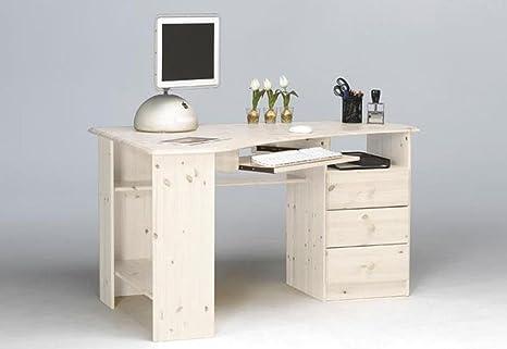 Meuble de bureau en pin massif coloris blanc, 73 x 133 x 95 cm -PEGANE-