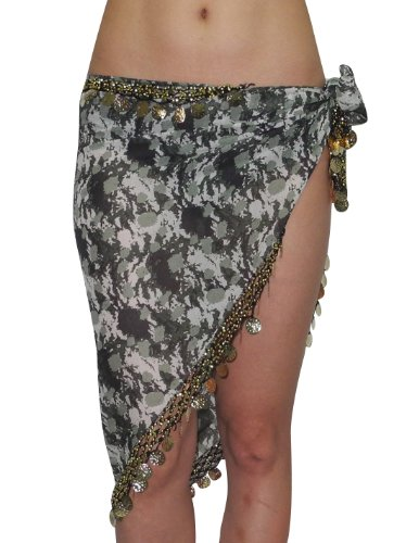 Womens Belly Dance Triangle Hip Scarf / Belt with Coins & Beads