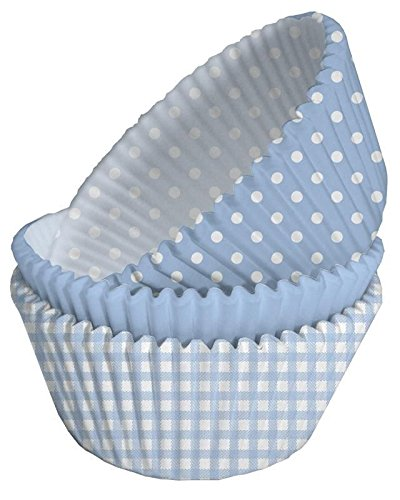 150 x azul, Gingham y lunares molde de papel para