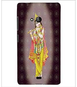 PrintDhaba Lord Krishna D-4736 Back Case Cover for MICROSOFT LUMIA 540 (Multi-Coloured)