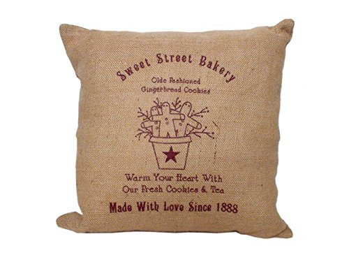 Sweet Street Bakery Gingerbread Burlap Pillow - 16 Inch Square front-416113