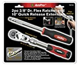 Ampro T29750 3/8-Inch Drive Flex Ratchet and 10-Inch Quick Release Extension, 2-Piece image
