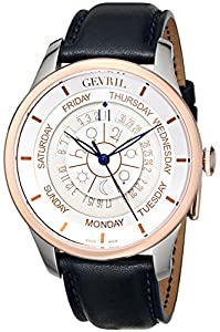 Gevril Men's 2003 Columbus Circle Analog Display Automatic Self Wind Blue Watch