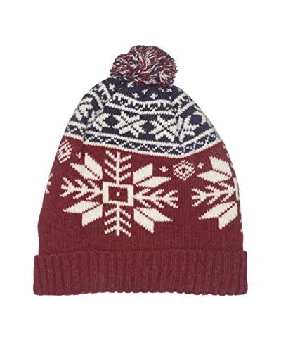Hackett London Gorro Lana Snow Flake Knit Beanie Vino