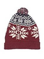 Hackett London Gorro Lana Snow Flake Knit Beanie (Vino)