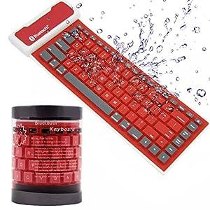 FULLBELL 折り畳み式 防水キーボード ワイヤレス Bluetooth シリコンミニキーボード 持ち運び易い 静音 防塵 洗える