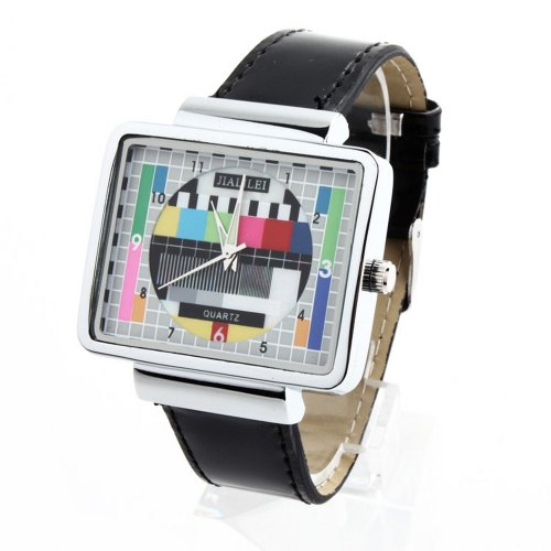 Jialilfi Faux Leather Band Luxury Square Tv Test Analog Quartz Watch Black