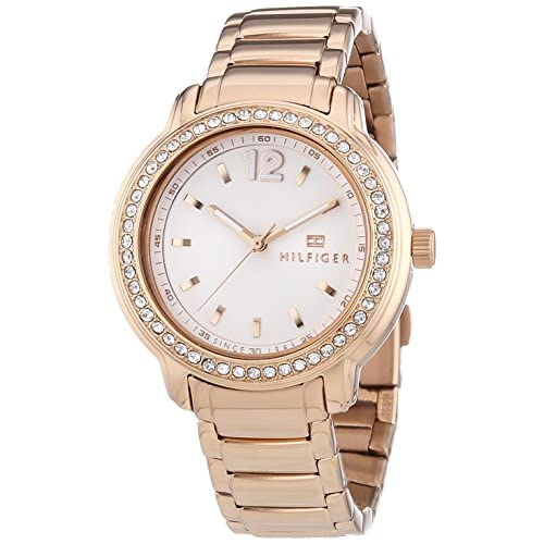 Tommy Hilfiger Callie Women's Quartz Watch with Silver Dial Analogue Display and Rose Gold Stainless Steel Rose...