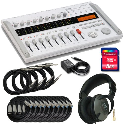 Zoom r16 Digital Stand-Alone Multitrack Recorder, with Tascam Vt1 Headphones; Microphone Cables and 10ft Instrument Cables
