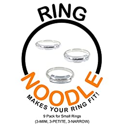 RING NOODLE for THIN rings 9 Pk (3-Mini, 3-Petite, 3-Narrow) Ring Size Reducer, Ring Guard