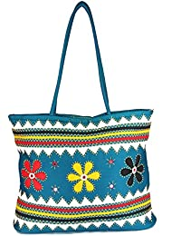 Womens Cottage Blue Cotton Three Flowers Patch Work Bag