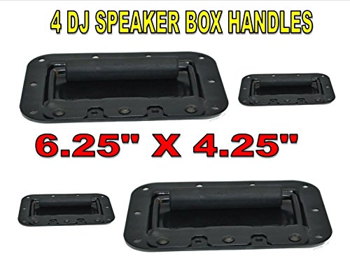 2 PAIR SPEAKER DJ BOX RECESSED SPRING LOADED FLIP HANDLE BLACK SPEAKER AMP RACK