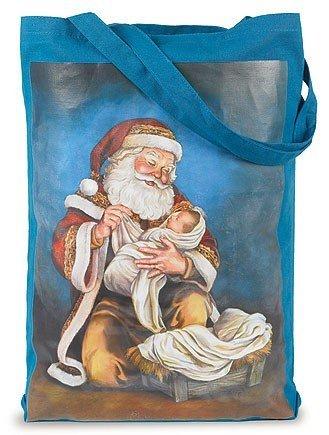 Adoring Kneeling Santa with Infant Jesus Nylon Nativity Tote, 18 Inch