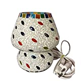 Priyal Artz Multi Colored Table Lamp With Bed Side On/Off Switch And Brass Holder - B00MA0JS5Q